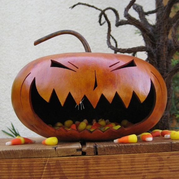 Halloween Gourd Jack-O-Lantern Spooky Natural Fall Harvest Candy Bowl Decoration