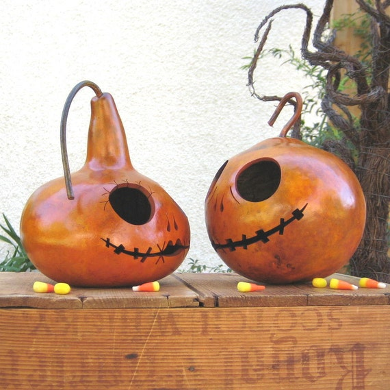 Halloween Gourd Jack-O-Lantern Pair Jack & Sally (inspired by Tim Burton) Spooky Fall Decoration