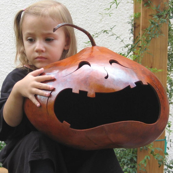Halloween Gourd Jack O Lantern XX Large Natural Fall Harvest Spooky Trick or Treat Candy Bowl Decoration