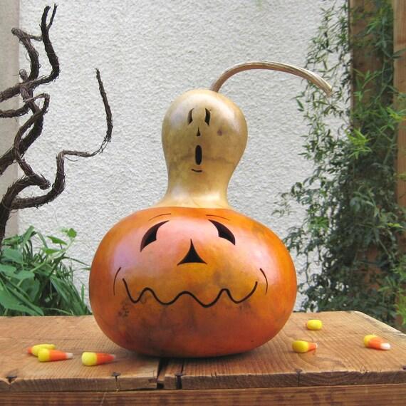 Halloween Gourd Jack O Lantern Ghost Top Natural Fall Harvest Spooky Pumpkin Decoration