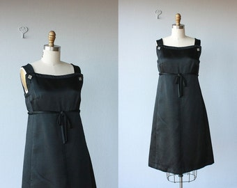 Vintage 60s Dress | 60s Cocktail Dress | Empire Waist Dress | Couture Designer Dress | 1960s Cocktail Dress | Black Silk LBD - (small)