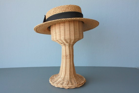 straw boater / 1980s straw boater hat / woven summer hat / straw hat