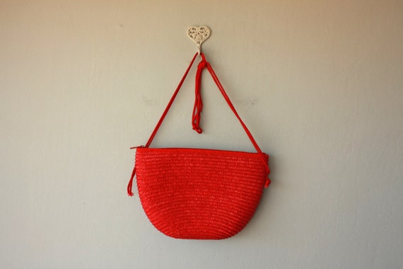 straw purse / red straw bag / 1980s woven purse / summer bag / woven bag