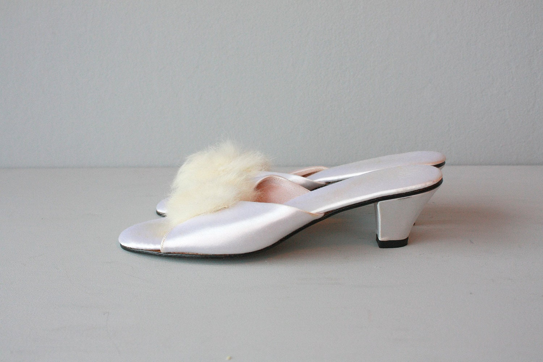 Bedroom Slippers Boudoir Slippers White Satin Heels Fur