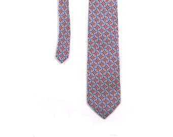 Vintage 80s Preppy Christian Dior Green Blue and Red Paisley Print Necktie