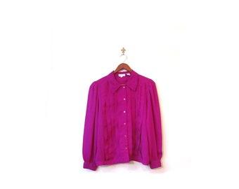 Vintage 80s FUCHSIA Pink Button Up Ruffled Secretary Oxford Blouse s m