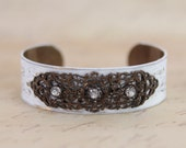 Vintage Brooch Cuff Shabby Painted White Bracelet with Rhinestones OOAK