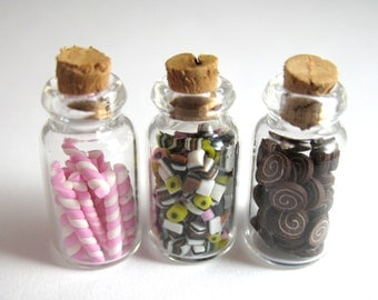 Dollhouse Miniature Food 3 Jars of Candy in 12th Scale