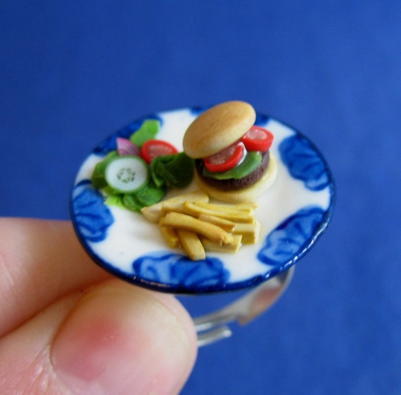 Miniature Food Jewelry Burger Fries and Salad Ring made from Fimo