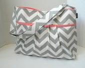 Monterey Chevron Diaper Bag - Medium - In Grey Chevron and Salmon / Coral Pink - Adjustable Strap and Elastic Pockets