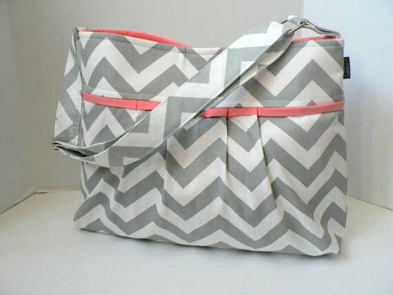 Monterey Chevron Diaper Bag - Medium - In Grey Chevron and Salmon / Coral Pink - Adjustable Strap and Elastic Pockets