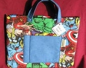 Ipad - Tablet - Book - Carrying Case AVENGERS with Blue Handles, Pocket and Inside