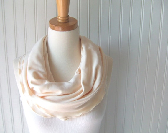 French Vanilla Infinity Scarf - Ruffled Cotton Jersey Cream, Ivory Fall Fashion