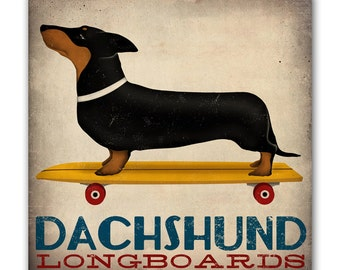 NEW ILLUSTRATION : DACHSHUND Wiener Dog Longboards Skateboard  - Gallery Wrapped Canvas Wall Art 16x16x1.5 inch Signed