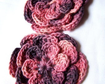 Crochet flower motif organic set of 2 applique pink purple mix 3 1/4 inch