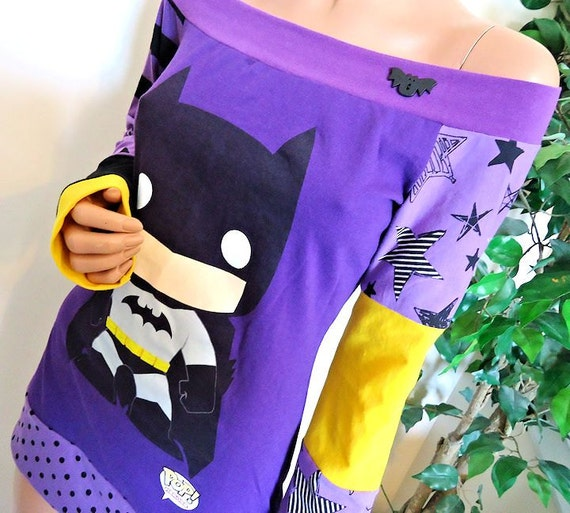 Batman Off Shoulder Top (You Choose the Size) Small Medium or Large