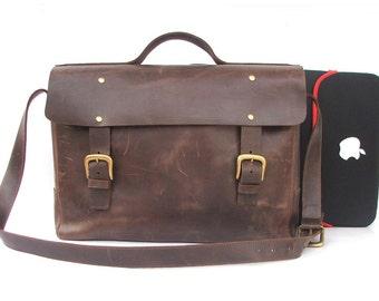 Leather bag Messenger bag Brown Leather Briefcase leather laptop bag macbook bag cross body leather bag shoulder bag Leather school bag