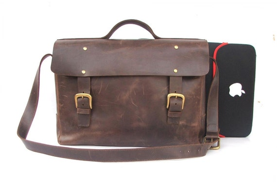 Leather bag Messenger bag Brown Leather Briefcase leather