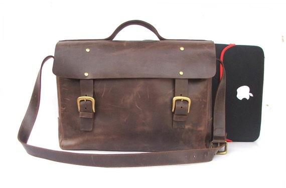 """15 """" macbook  Messenger bag Mens Women  Brown Leather Brifcase Leather Handbag leather bag for laptop leather cross body bag  shoulder bag"""