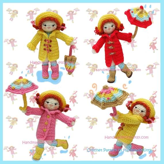 Playing under the Raindrops Amigurumi PDF Crochet Pattern by HandmadeKitty