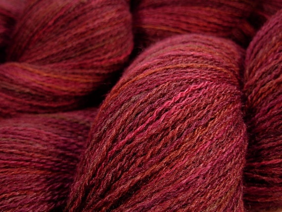 Lace Weight Silk/Merino Wool Yarn, Hand Dyed - Merlot Multi