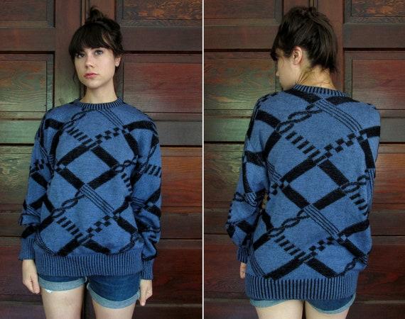 1980s SOFT OVERSIZED Blueberry & Black BOGNER Virgin Wool Sweater One Size