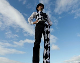 The Harlequin Trousers - Stylish Circus, with a Monochromatic Venetian Twist