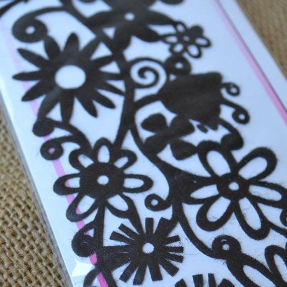 Black Floral Border Adhseive Felt Embellishment