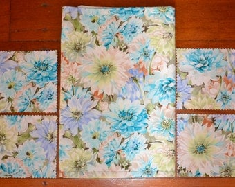 5 Pce Pretty DAHLIA FLOWERS Triple Layer Reversable Reversible Cotton Table Runner and Drink Coaster Set 38.5 X 11.9 Inches