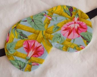 Pretty MORNING GLORY Flowers Five Layer LUXURY Cotton Sleep Eye Mask