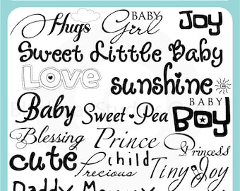 Baby Word Art -Scrapbooking Titles, Baby Titles, Baby Announcement, Digital Stamps - Personal & Commercial