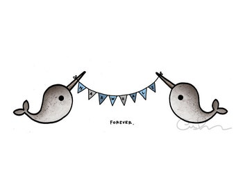 Moving Sale! NARWHALS - A6 greeting card