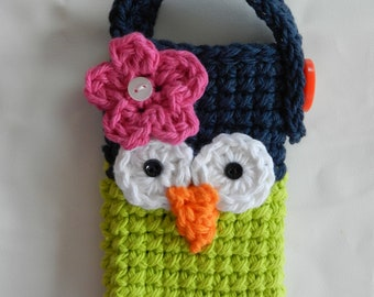 Crocheted Owl Cell Phone/ IPhone5 5s / Small Gadget Cozy/ Blue and lime Green
