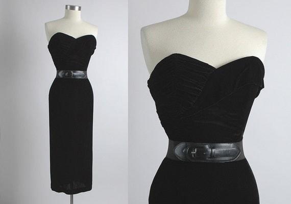 1950's Vintage Black Velvet Ruched Bodice Cocktail Dress, 50's, curve hugging