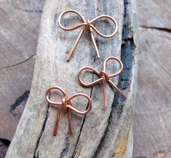 Copper Bow Charm Connector - Metal Bow Pendant for Necklace, Earrings