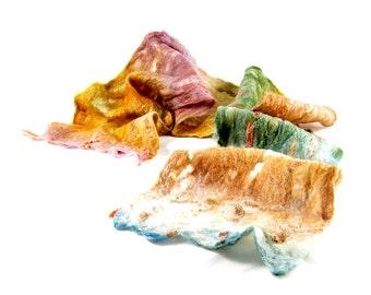 Cobweb Felt Scarf Wool Scarf Gift for Her Fall Scarf Winter Scarf Womens Scarf Fall Fashion Beige Tan Sea Green Mauve Honey Gold TAFA OOAK