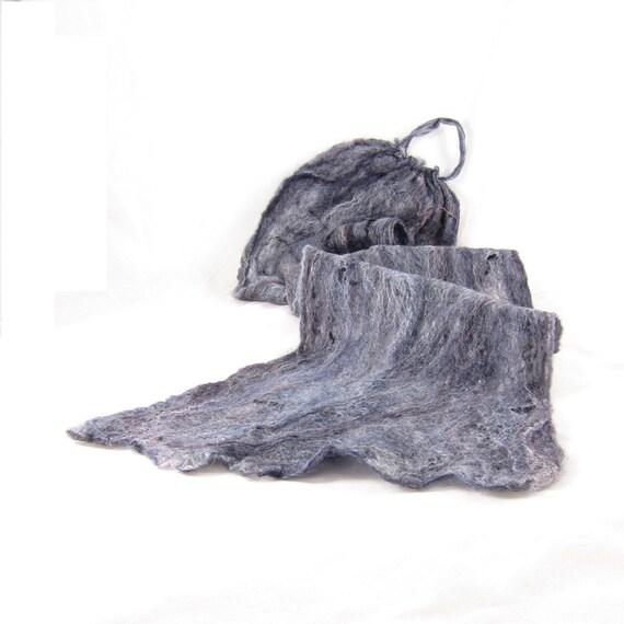 Sale-Cobweb Felt Scarflette Wool Scarf Felt Scarf Gray Scarf Grey Scarf Womens Scarf Winter Scarf Fall Scarf Under 50 OOAK