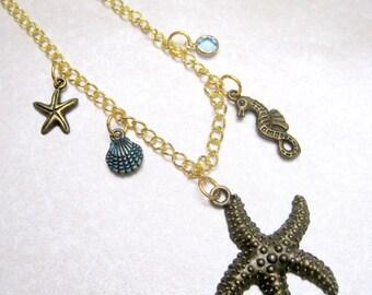 Sea Creatures  - Bronze Brass Sapphire Swarovski Crystal Chain Waterfall Necklace