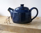 Pottery mouse teapot - wheel thrown and glazed in midnight blue