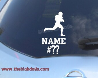 Football Silhouette Custom Name Vinyl Sticker Car Decal