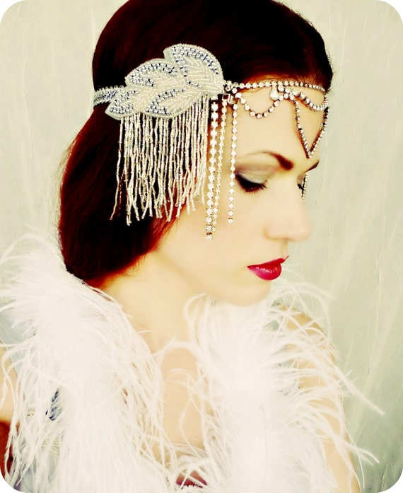 Hold For Michal with Upgraded Express Mail Shipping 15% Sale Flapper Art Deco Nouveau Headdress Headpiece Silver Leaves
