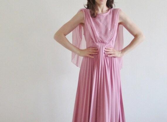 art nouveau gown . pink rose rhinestone dress .large .sale
