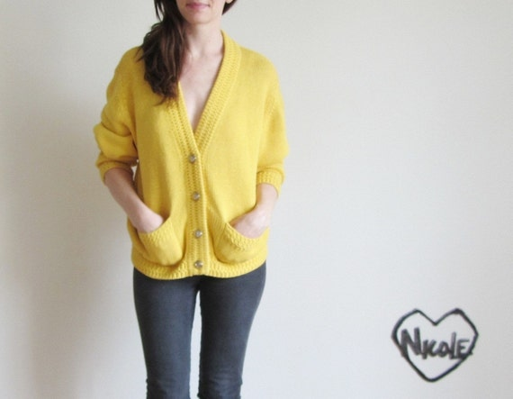 nautical knit cardigan . v neck granddad anchor sweater .large.extra large.xl.oversize .sale