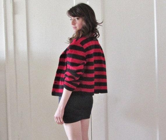 freddy krueger BEFORE THE FIRE cardigan . wool striped halloween sweater .medium.large .sale