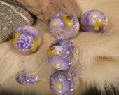 Polymer Clay Beads PURPLE FLOWERS