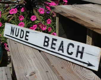 Beach Sign Nude Vintage Style Nautical Distressed Wooden Sign Coastal Decor BEACH House