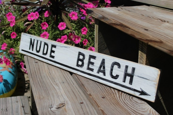 Beach Sign Nude Vintage Style Nautical Distressed Wooden Sign Coastal