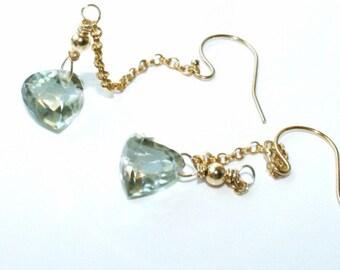 Trillion green Prasiolite green earrings briolette style earrings dangle, long chain earrings, light green, gold chain jewelry, wedding