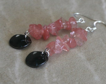 Rose quartz earrings, watermelon chip bead, chip earrings