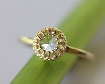 Rose Cut Moissanite 14K Gold Ring, Stacking RIng (Limited Edition) -  Made to Order